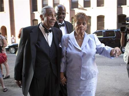U.S. Representative Charles B. Rangel and his wife Alma attend the wedding of New York City Council speaker Christine C. Quinn and her girlfriend Kim Catullo in New York, May 19, 2012. REUTERS/Allison Joyce