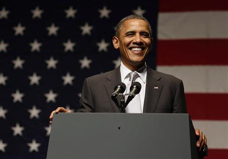 U.S. President Barack Obama speaks at an Obama Victory Fund Concert at the Filmore Miami Beach at the Jackie Gleason Theater in Miami, Florida, June 26, 2012. REUTERS/Larry Downing