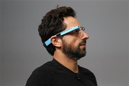 Sergey Brin, CEO and co-founder of Google, wears a Google Glass during a product demonstration during Google I/O 2012 at Moscone Center in San Francisco, California June 27, 2012. REUTERS/Stephen Lam