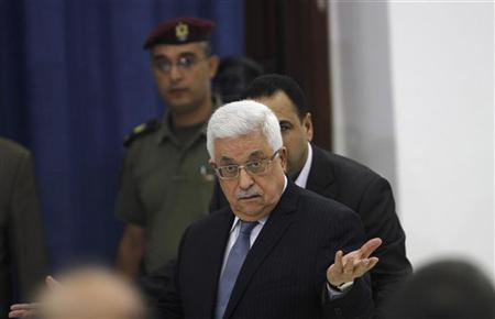 Palestinian President Mahmoud Abbas attends a Fatah movement council meeting in the West Bank city of Ramallah June 23, 2012. REUTERS/Mohamad Torokman