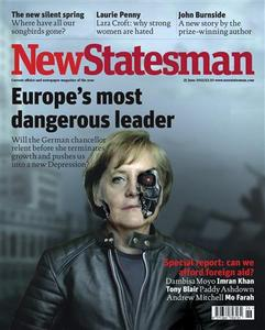 The front cover of the June 26, 2012 issue of New Statesman magazine featuring German Chancellor Angela Merkel is seen in this handout image released by the magazine to Reuters June 27, 2012. REUTERS/New Statesman/Handout