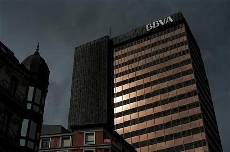 The offices of Spanish bank Banco Bilbao Vizcaya Argentaria (BBVA) are illuminated by the late afternoon sun in central Bilbao May 4, 2012. REUTERS/Vincent West