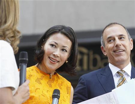 ''Today'' show hosts Ann Curry and Matt Lauer appear on set during the show in New York June 22, 2012. NBC executives are in talks with Curry about moving her to one of the network's news programs, only a year after she succeeded Meredith Viera at the morning show. REUTERS/Brendan McDermid