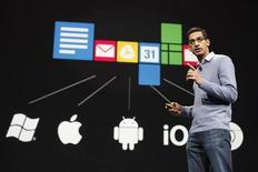 Sundar Pichai, senior vice president of Google Chrome, speaks during Google I/O Conference at Moscone Center in San Francisco, California June 28, 2012. REUTERS/Stephen Lam