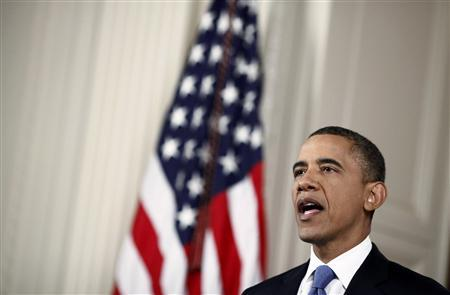 U.S. President Barack Obama makes a statement about the Supreme Court's decision on the Affordable Health Care Act in the East Room of the White House in Washington, June 28, 2012. REUTERS/Luke Sharrett
