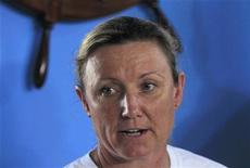 Penny Palfrey, an Australian-British swimmer, talks during a news conference in Havana June 28, 2012. REUTERS/Enrique de la Osa