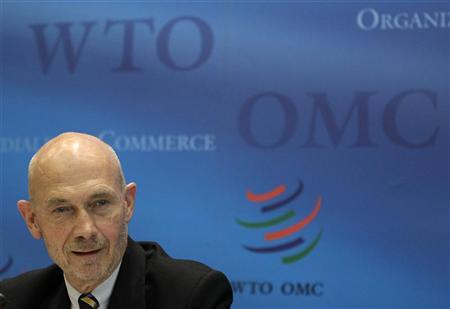 World Trade Organization Director General Pascal Lamy addresses a news conference on annual trade forecast and statistics at the WTO headquarters in Geneva April 12, 2012. REUTERS/Denis Balibouse