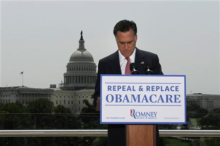 U.S. Republican Presidential candidate Mitt Romney pauses as he gives his reaction to the Supreme Court's upholding key parts of President Barack Obama's signature healthcare overhaul law in Washington June 28, 2012. REUTERS/Jonathan Ernst
