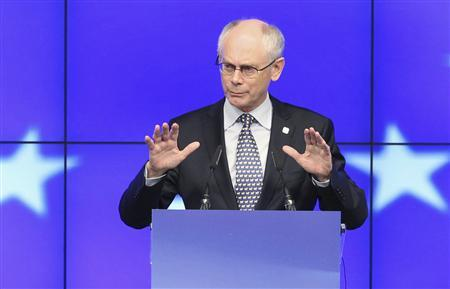European Council President Herman Van Rompuy addresses a news conference after a European Union leaders summit in Brussels June 29, 2012. REUTERS/Francois Lenoir