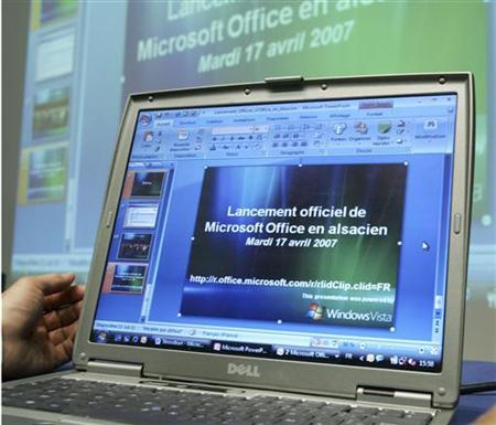 A computer screen displays the world launch of Microsoft Office software in ''Alsacien'', the traditional language of the eastern France region of Alsace, in Strasbourg April 17, 2007. REUTERS/Jean-Marc Loos