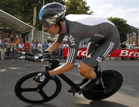 Sky Procycling rider Bradley Wiggins of Britain cycles during the individual time trial in the first stage of the 99th Tour de France cycling race in Liege, June 30, 2012. REUTERS/Bogdan Cristel