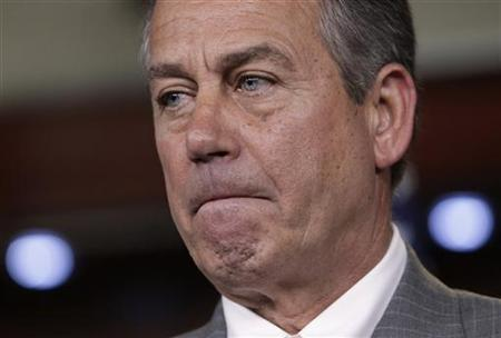 U.S. House Speaker John Boehner (R-OH) pauses at a news conference on President Barack Obama's signature healthcare law on Capitol Hill in Washington June 28, 2012. REUTERS/Yuri Gripas