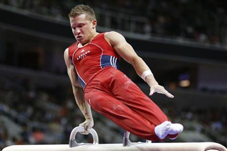U.S. gymnast Jonathan Horton performs on the pommel horse at the U.S. Olympic gymnastics trials in San Jose, California June 30, 2012. REUTERS/Mike Blake
