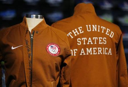 Team jackets for the 2012 U.S. Olympic team are displayed at the U.S. Olympic athletics trials in Eugene, Oregon June 21, 2012. REUTERS/Mike Blake