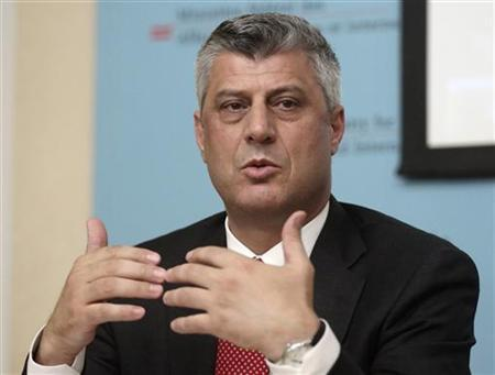 Kosovo's Prime Minister Hashim Thaci addresses a news conference after a meeting of the International Steering Group for Kosovo in Vienna July 2, 2012. REUTERS/Heinz-Peter Bader