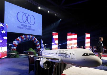 A scaled model of an Airbus A320 aircraft is seen on stage before a news conference in Mobile, Alabama July 2, 2012. REUTERS/Jonathan Bachman