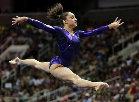 U.S. gymnast Jordyn Wieber performs on the floor at the U.S. Olympic gymnastics trials in San Jose, California July 1, 2012. REUTERS/Mike Blake