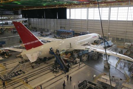 A view shows a 787 Dreamliner passenger jet being assembled at Boeing's South Carolina facility in North Charleston April 27, 2012. REUTERS/ Mary Ann Chastain