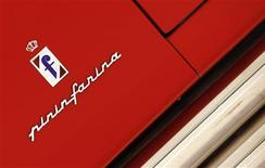 The Pininfarina logo is pictured at the Casa Enzo Ferrari museum during a media preview in Modena, northern Italy, in this March 9, 2012 file photo. Sergio Pininfarina, whose family company designed almost every Ferrari since the 1950s and whose name is still synonymous with some of the world's most glamorous cars, has died aged 85. REUTERS/Alessandro Bianchi/Files