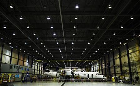 File photo of a Bombardier q400 airplane being assembled at the Bombardier aircraft manufacturing facility in Toronto, November 25, 2010. REUTERS/Mark Blinch