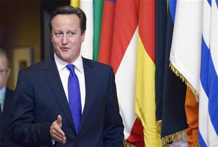 Britain's Prime Minister David Cameron leaves a European Union leaders summit in Brussels June 29, 2012. REUTERS/Eric Vidal