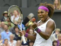 Serena Williams of the U.S. celebrates after defeating Petra Kvitova of the Czech Republic in their women's quarter-final tennis match at the Wimbledon tennis championships in London July 3, 2012. REUTERS/Toby Melville