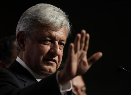 Andres Manuel Lopez Obrador, presidential candidate for the Party of the Democratic Revolution (PRD), speaks during a news conference with the media and supporters at a hotel in Mexico City July 2, 2012. REUTERS/Henry Romero