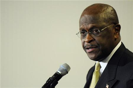 Former Republican presidential hopeful Herman Cain gives the Tea Party Express response to U.S. President Barack Obama's State of the Union Address, at the National Press Club in Washington January 24, 2012. REUTERS/Jonathan Ernst
