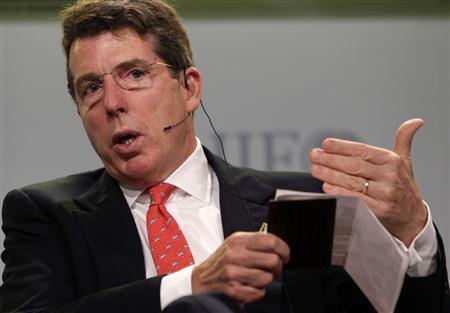 Bob Diamond, CEO and chairman of Barclays, speaks during a panel discussion at the Institute of International Finance (IIF) annual meeting in Washington in this September 25, 2011 file photograph. Barclays Plc announced on July 3, 2012 that Diamond had quit with immediate effect following a market-rigging scandal. Outgoing chairman Marcus Agius, who announced his resignation on July 2, 2012, will become full-time chairman and lead the search for a new chief executive. REUTERS/Yuri Gripas/Files