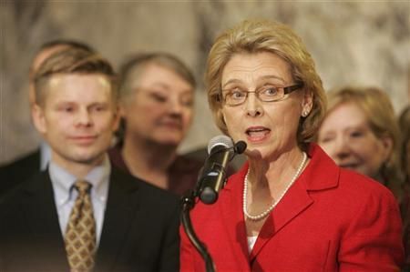 Washington state Gov. Chris Gregoire (R) speaks to an audience shortly before signing legislation legalizing gay marriage in the state in Olympia, Washington February 13, 2012. REUTERS/Robert Sorbo
