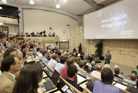 Joe Incandela, spokesperson of the CMS experiment, addresses a scientific seminar to deliver the latest update in the search for the Higgs boson at the European Organization for Nuclear Research (CERN) in Meyrin near Geneva July 4, 2012. REUTERS/Denis Balibouse