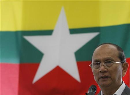 Myanmar's President Thein Sein speaks during a meeting with Tokyo Electric Power Company (TEPCO) Chairman Tsunehisa Katsumata at TEPCO's Kawasaki Thermal Power Plant in Kawasaki, south of Tokyo April 22, 2012. REUTERS/Toru Hanai