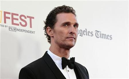 Cast member Matthew McConaughey poses at the premiere of ''Magic Mike'' during the closing night of the Los Angeles Film Festival at the Regal Cinemas in Los Angeles, California June 24, 2012. REUTERS/Mario Anzuoni