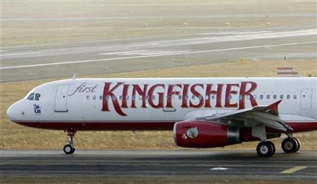 A Kingfisher Airlines Airbus passenger aircraft prepares to take-off at Mumbai airport in this April 11, 2007 file photo. REUTERS/Punit Paranjpe/Files
