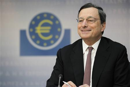 Mario Draghi, President of the European Central Bank (ECB), addresses the media during his monthly news conference at the ECB headquarters in Frankfurt, July 5, 2012. The European Central Bank cut interest rates by 25 basis points to 0.75 percent. REUTERS/Alex Domanski