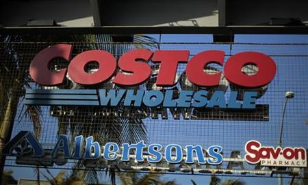 A Costco sign is seen in Los Angeles, California, May 24, 2011. Costco Wholesale Corporation will report Q3 2011 earnings May 25. REUTERS/Lucy Nicholson