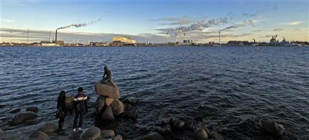 Tourists look at the sculpture of the Little Mermaid, inspired from a fairy tale written by Hans Christian Andersen, a famous landmark of Copenhagen January 26, 2011. REUTERS/Radu Sigheti