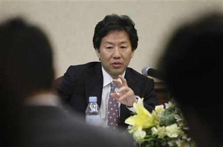 Japan Finance Minister Jun Azumi gestures while answering questions during a news conference after the 15th ASEAN plus 3 Finance Ministers and Central Bank Governors' meeting in Manila May 3, 2012. REUTERS/Romeo Ranoco/Files