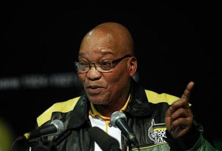 South Africa's President Jacob Zuma gestures as he addresses an African National Congress (ANC) policy meeting in Midrand, north of Johannesburg, June 29, 2012. REUTERS/Siphiwe Sibeko