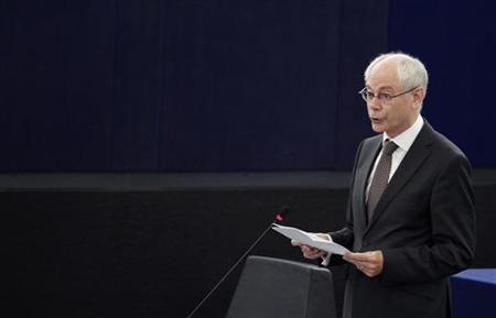 European Council President Herman Van Rompuy addresses the European Parliament during a debate on the last EU summit in Strasbourg, July 3, 2012. REUTERS/Vincent Kessler