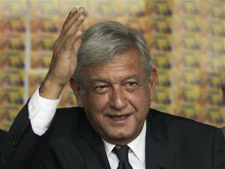 Andres Manuel Lopez Obrador, presidential candidate for the Party of the Democratic Revolution (PRD), speaks during a news conference at his campaign headquarters in Mexico City July 5, 2012. REUTERS/Henry Romero