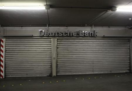 A closed branch of Germany's largest bank 'Deutsche Bank', is pictured in a parking garage in Bochum June 4, 2012. REUTERS/Ina Fassbender