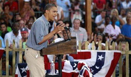 President Barack Obama speaks at a campaign event at James Day Park in Parma, Ohio July 5, 2012. REUTERS/Kevin Lamarque