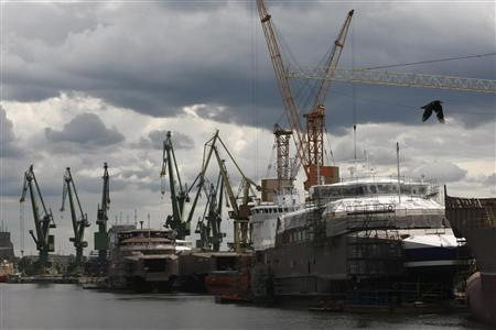 Partially built ships are pictured docked in Gdansk Shipyard May 30, 2012. REUTERS/Kacper Pempel