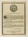 "A Parliamentary edict from 1651 is seen in this undated handout photograph released in London July 6, 2012. Cancelling Christmas and banning plays were just two of the edicts imposed on 17th century England by parliamentarians who overthrew Charles I, as documented in a series of broadsheets dubbed the ""Anti-Fun Charter"" to be auctioned by Sotheby's. The handwritten acts and ordinances provide a glimpse of life in a kingdom racked with tensions between King Charles I's Royalists and Oliver Cromwell's Parliamentarians who dragged the nation into a civil war, shocked Europe with the beheading of a ruling monarch and created a brief republic. REUTERS/Sotheby's/Handout"