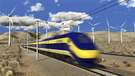 An artist's rendition courtesy of the California High-Speed Rail Authority shows a high speed train passing through Techachapi, California. REUTERS/California High-Speed Rail Authority/Handout