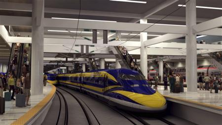 An artist's rendition courtesy of the California High-Speed Rail Authority shows a high speed train in a station in the Bay Area in California. REUTERS/California High-Speed Rail Authority/Handout