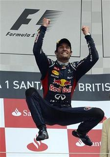 Red Bull Formula One driver Mark Webber of Australia reacts after winning the British F1 Grand Prix at Silverstone, central England, July 8, 2012. REUTERS/Nigel Roddis