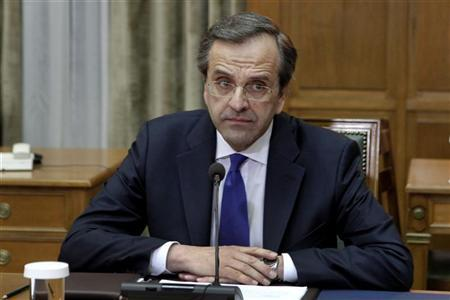 Newly appointed Greek Prime Minister Antonis Samaras looks on during the first cabinet meeting of his government at the parliament in Athens June 21, 2012. REUTERS/Yorgos Karahalis