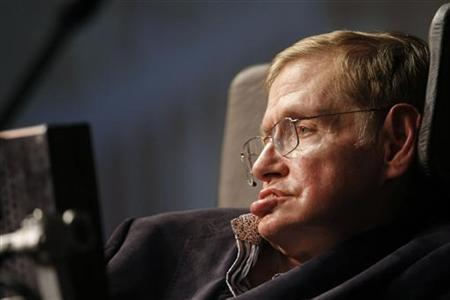 Theoretical physicist Stephen Hawking addresses a public meeting in Cape Town May 11, 2008. Hawking is in South Africa for a short visit, accompanied by Nobel laureates David Gross and George Smoot. REUTERS/Mike Hutchings